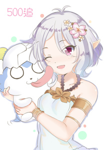 Rating: Safe Score: 0 Tags: 1girl ;d absurdres antenna_hair bangs bare_shoulders blush breasts collarbone dress eyebrows_visible_through_hair flower grey_hair hair_between_eyes hair_flower hair_ornament halterneck head_tilt highres holding kokkoro_(princess_connect!) lydia601304 o_o one_eye_closed open_mouth pink_flower pointy_ears princess_connect! princess_connect!_re:dive purple_eyes small_breasts smile solo tongue tongue_out upper_body white_background white_dress white_flower User: DMSchmidt
