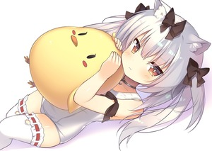 Rating: Safe Score: 2 Tags: 1girl animal_ears annoyed arm_ribbon azur_lane bird bow brown_eyes cat_ears chick choker hair_bow highres long_hair looking_at_viewer lying mintoaisu on_back one-piece_swimsuit pout ribbon school_swimsuit silver_hair solo stuffed_toy swimsuit thighhighs two_side_up white_legwear white_school_swimsuit white_swimsuit yukikaze_(azur_lane) User: DMSchmidt