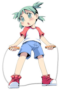 Rating: Safe Score: 2 Tags: 1girl blush green_eyes green_hair ham_(points) jump_rope koiwai_yotsuba open_mouth quad_tails raglan_sleeves shorts solo yotsubato! User: DMSchmidt