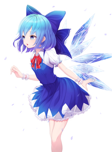 Rating: Safe Score: 2 Tags: +_+ 1girl arched_back arm_behind_back arm_up bangs blue_bow blue_dress blue_eyes blue_hair bow breasts cirno dress feet_out_of_frame hair_bow highres ice ice_wings ju-ok leaning_forward looking_to_the_side open_mouth parted_lips petticoat pinafore_dress puffy_short_sleeves puffy_sleeves red_neckwear red_ribbon ribbon shirt short_sleeves small_breasts solo standing touhou_project white_shirt wings wrist_cuffs User: DMSchmidt
