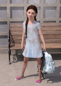 Rating: Safe Score: 4 Tags: 1girl 3dcg backpack bag bench blue_eyes braid brown_hair cassidy dress flat_chest flip-flops libertine_simulacra long_hair looking_at_viewer nail_polish outdoors photorealistic pose sandals shadow smile standing twin_braids User: fantasy-lover