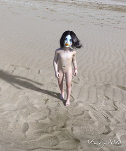 Rating: Questionable Score: 13 Tags: 1girl 3dcg artist_name beach black_hair bracelet clown flat_chest highres looking_at_viewer nipples nude ocean original painted_face photorealistic pussy realistic sand slimdog solo standing toddlercon uncensored walking User: lalilu1234
