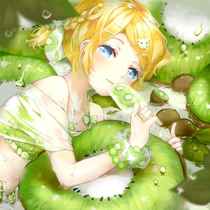 Rating: Safe Score: 2 Tags: 1girl animal_hair_ornament bare_shoulders bikini bikini_under_clothes blonde_hair blue_eyes blurry bow bracelet braid collarbone depth_of_field dew_drop dripping eating flat_chest food food_print french_braid frilled_bikini frills fruit giant_food hair_bow hair_ornament hairclip highres ice_cream ice_pop jewellery kagamine_rin kiwi_slice kiwifruit leaf looking_at_viewer lying midriff on_side open_clothes open_shorts oyamada_(pi0v0jg) oyamada_gamata parted_lips scrunchie see-through shirt short_hair short_ponytail shorts side_braid solo swimsuit swimwear tareme vocaloid water_drop wet wet_clothes wet_shirt wrist_scrunchie User: DMSchmidt