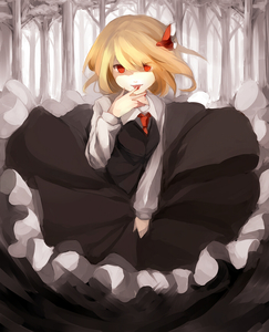 Rating: Safe Score: 0 Tags: 1girl 60mai black_dress blonde_hair blood darkness dress finger_licking forest frilled_dress frills hair_ribbon licking long_sleeves looking_at_viewer monochrome nature necktie red_eyes ribbon rumia solo spot_colour tongue touhou_project User: DMSchmidt