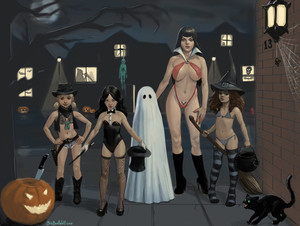 Rating: Questionable Score: 17 Tags: 4girls bigbadwolf black_cat black_hair blonde_hair breasts broom brown_hair cowgirl fishnets flat_chest ghost halloween harry_potter hat hermione_granger high_heels knife leotard long_hair looking_at_viewer magician multiple_girls nipples pose pumpkin revolver shadow standing striped_legwear thighhighs trick_or_treat vampire wand witch User: fantasy-lover