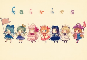 Rating: Safe Score: 1 Tags: 7girls cirno clownpiece daiyousei lily_white luna_child multiple_girls simple_background star_sapphire sunny_milk touhou_project yujup User: ShizKoE2