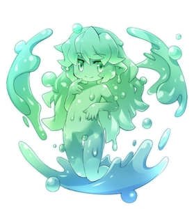 Rating: Questionable Score: 3 Tags: 1girl full_body green_eyes kso long_hair looking_at_viewer monster_girl navel original pointy_ears simple_background slime slime_girl smile solo white_background User: Domestic_Importer