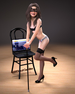 Rating: Questionable Score: 7 Tags: 1girl 3dcg 4888stockcarman ass blue_eyes braces brown_hair cane chair computer diane high_heels highres long_hair looking_at_viewer mask pantsu photorealistic pose smile thighhighs underwear User: fantasy-lover