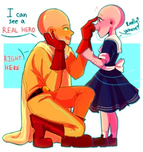 Rating: Safe Score: 1 Tags: 1boy 1girl bald bapogichi blue_eyes cape dress gloves happy intravenous_drip one-punch_man pointing sailor_dress saitama_(one-punch_man) sick text User: Domestic_Importer