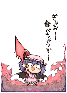 Rating: Safe Score: 0 Tags: 1girl :d arm_up bat_wings blouse blue_hair blush brooch chibi collar fang fighting_stance frilled_blouse frilled_skirt frills full_body hat holding holding_weapon jewellery medium_hair mob_cap nekoguruma o_o open_mouth pink_skirt puffy_short_sleeves puffy_sleeves red_footwear remilia_scarlet shoes short_sleeves skirt skirt_set smile socks spear_the_gungnir standing touhou_project translation_request weapon wings User: DMSchmidt