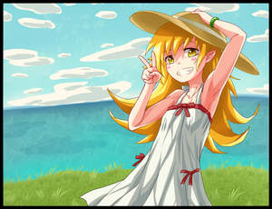Rating: Safe Score: 0 Tags: 191karasu 1girl armpits bare_shoulders blonde_hair blush_stickers bracelet cloud dress fang grin hat jewellery long_hair monogatari_(series) nisemonogatari oshino_shinobu pointy_ears sky smile solo sun_hat sundress v yellow_eyes User: DMSchmidt