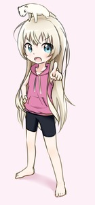 Rating: Safe Score: 1 Tags: 1girl animal animal_on_head arm_up armpits barefoot black_shorts blonde_hair blue_eyes ferret full_body hand_on_hip highres keven_(ewdx3754) long_hair on_head open_mouth pink_background pink_shirt pointing shirt shorts simple_background sketch sleeveless sleeveless_shirt solo spats takanashi_misha uchi_no_maid_ga_uzasugiru! User: DMSchmidt