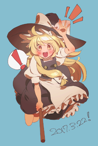 Rating: Safe Score: 0 Tags: ! 1girl arm_up bangs black_hat black_skirt blonde_hair blue_background blush bow broom broom_riding dated eyebrows_visible_through_hair hat hat_bow kirisame_marisa long_hair looking_at_viewer masanaga_(tsukasa) notice_lines open_mouth puffy_short_sleeves puffy_sleeves short_sleeves sidelocks simple_background skirt skirt_set solo spoken_exclamation_mark touhou_project white_bow witch_hat yellow_eyes User: DMSchmidt