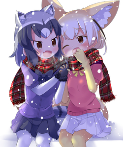 Rating: Safe Score: 1 Tags: 10s 2girls ;d animal_ears black_gloves black_hair black_neckwear blonde_hair blush bow bowtie brown_eyes common_raccoon_(kemono_friends) extra_ears eyebrows_visible_through_hair fang fennec_(kemono_friends) fox_ears fox_tail fur_trim gloves grey_hair hands_together highres interlocked_fingers kemono_friends makuran miniskirt multicoloured_hair multiple_girls one_eye_closed open_mouth pantyhose pink_sweater plaid plaid_scarf pleated_skirt raccoon_ears raccoon_tail scarf shared_scarf short_sleeves sitting skirt smile snowing sweater tail thighhighs white_background white_hair white_legwear white_skirt yellow_gloves yellow_legwear yellow_neckwear User: Domestic_Importer