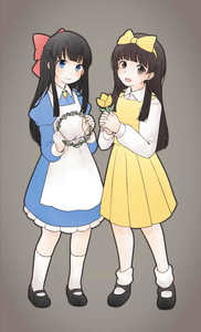 Rating: Safe Score: 3 Tags: 2girls apron aya_drevis bangs black_footwear black_hair blue_dress blue_eyes blunt_bangs brown_eyes crossover devotion dress du_meishin flat_chest flower full_body grey_background hairband hands_together head_wreath highres kneehighs long_hair looking_at_viewer mad_father mary_janes multiple_girls open_mouth ribbon shirt shoes simple_background smile socks white_apron white_footwear white_legwear white_shirt yellow_dress zettai_ryouiki User: DMSchmidt