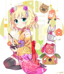 Rating: Safe Score: 2 Tags: 1girl animal bangs black_legwear blonde_hair blue_eyes blush boar bow brown_kimono bunny chinese_zodiac chopsticks closed_mouth eyebrows_visible_through_hair flat_chest flower furisode gochuumon_wa_usagi_desu_ka? gradient hagoita hair_bow hair_flower hair_ornament highres himarisu_(hida_mari) holding holding_bow holding_chopsticks japanese_clothes kanzashi kimono kirima_sharo leaf long_sleeves looking_at_viewer mochi new_year obi paddle pink_bow pink_flower purple_flower purple_rose rose sash scar scar_across_eye seiza shide short_hair short_kimono short_ponytail signature sitting smile solo tassel thighhighs white_background white_flower wide_sleeves year_of_the_pig User: DMSchmidt