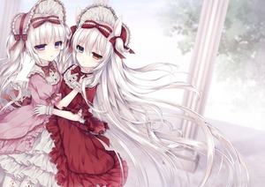 Rating: Safe Score: 3 Tags: 2girls absurdres alice_claudia animal_ears bow cover cover_page doujinshi_cover dress frilled_dress frills gloves hair_bow hair_ribbon hairband heterochromia highres hug lolita_fashion lolita_hairband multiple_girls original purple_eyes ribbon rolo_noir silver_hair tsukikage_nemu two_side_up white_gloves User: DMSchmidt