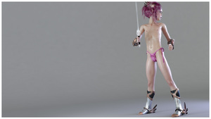 Rating: Questionable Score: 10 Tags: 1girl 3dcg american_girls_paradise boots cameltoe flat_chest frantz highres holding_sword looking_back navel nipples pantsu photorealistic pink_hair shiny shiny_skin side-tie_panties solo standing sword tied_hair toy underwear weapon User: Software