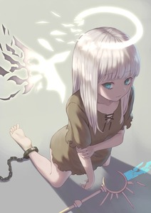 Rating: Safe Score: 3 Tags: 1girl absurdres angel angel_wings bare_legs barefoot broken broken_weapon brown_shirt chain chained closed_mouth collarbone eyebrows_visible_through_hair flat_chest from_above halo hand_on_own_arm highres kneeling long_hair looking_to_the_side on_ground open_eyes original shattered shattering shirt short_sleeves simple_background solo staff torn_clothes weapon white_hair wings yorishiem User: DMSchmidt