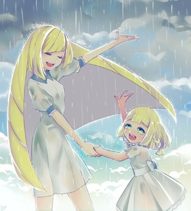 Rating: Safe Score: 1 Tags: 2girls bangs blonde_hair blunt_bangs blush braid closed_eyes cloud cloudy_sky dress happy highres holding_hands kisaragi_yuu_(fallen_sky) lillie_(pokemon) long_hair lusamine_(pokemon) mother_and_daughter multiple_girls music outdoors outstretched_arm pokemon pokemon_(game) pokemon_sm rain ribbon short_sleeves singing sky very_long_hair wet wet_clothes white_dress User: Domestic_Importer