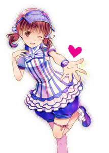 Rating: Safe Score: 0 Tags: 1girl ;) alternate_costume blush brown_eyes brown_hair doujima_nanako dress heart hijiri_ruka lawson one_eye_closed persona persona_4 puffy_shorts short_hair short_twin_tails shorts shorts_under_dress smile solo striped twin_tails vertical-striped_dress vertical_stripes visor_cap wristband User: DMSchmidt