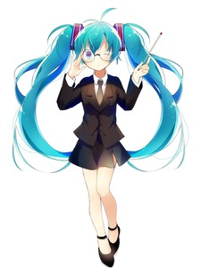 Rating: Safe Score: 1 Tags: 1girl absurdres adjusting_eyewear aqua_eyes aqua_hair bespectacled blazer full_body fuyusuke_(hz+) glasses hatsune_miku highres jacket long_hair necktie one_eye_closed skirt solo teacher twin_tails very_long_hair vocaloid white_background User: DMSchmidt