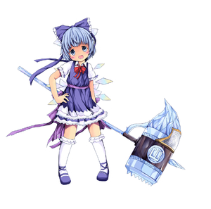 Rating: Safe Score: 0 Tags: (9) 1girl absurdres bad_id blue_dress blue_eyes blue_hair blue_skirt blush bow bowtie cirno dress dress_shirt fang frilled_kneehighs frilled_legwear hair_bow hammer hand_on_hip highres hips huge_weapon ice kneehighs mallet mary_janes sakuraba_hikaru_(loveindog) sash shirt shoes short_hair smile solo standing touhou_project weapon white_legwear wings yousei_daisensou User: Domestic_Importer