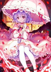 Rating: Safe Score: 1 Tags: 1girl blue_hair chain choker closed_mouth cloud hat hat_ribbon highres holding holding_umbrella indoors juliet_sleeves long_sleeves looking_at_viewer mirror_(xilu4) mob_cap pantyhose parasol petals pink_skirt puffy_sleeves red_eyes red_footwear red_ribbon remilia_scarlet ribbon ribbon_trim rose_petals shoes sitting skirt skirt_set smile solo touhou_project umbrella white_legwear window wrist_cuffs User: DMSchmidt