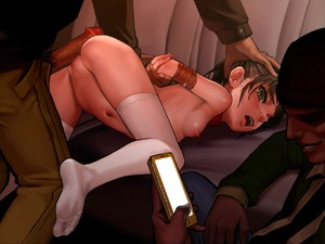 Rating: Explicit Score: 18 Tags: 1girl 2boys as109 bdsm blush bondage bound breasts brown_hair car cellphone clothed_male_nude_female crying erection from_behind green_eyes ground_vehicle head_grab imminent_rape looking_at_viewer motor_vehicle multiple_boys navel nipples nude penis phone pubic_hair shoujo_to_ura_roji small_breasts smartphone smirk tape tape_bondage top-down_bottom-up white_legwear User: Domestic_Importer