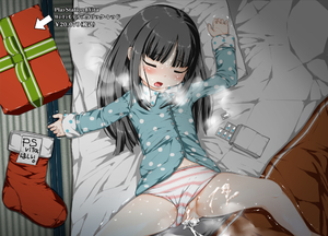 Rating: Explicit Score: 8 Tags: 1girl after_sex after_vaginal arrow bangs black_hair blush closed_eyes cum cum_in_pussy drugged drugs eyebrows eyebrows_visible_through_hair flat_chest heavy_breathing kindandowa long_hair long_sleeves lying on_back open_mouth original panties_aside pantsu pillow polka_dot polka_dot_shirt present pussy shimapan shiny shiny_hair shiny_skin sleeping solo spread_legs stocking striped sweat tatami text translated trembling underwear User: Domestic_Importer