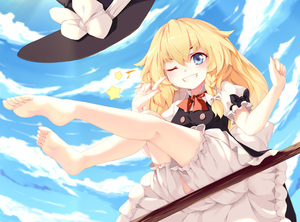 Rating: Safe Score: 3 Tags: 1girl bare_legs barefoot blonde_hair bloomers blue_eyes blush bow bowtie braid broom broom_riding cloud feet finger_to_eye from_below grin hair_between_eyes hair_bow hat hat_bow hat_removed headwear_removed highres kirisame_arisa kirisame_marisa kneepits legs legs_up long_hair one_eye_closed puffy_short_sleeves puffy_sleeves red_neckwear short_sleeves side_braid sitting skirt skirt_set sky smile soles solo star toes touhou_project underwear witch_hat User: DMSchmidt