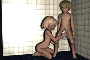 Rating: Explicit Score: 4 Tags: 1boy 1girl 3dcg artist_request blonde_hair full_body kneeling photorealistic short_hair shota shower soap soap_bubbles soapy standing straight_shota tile_floor washing User: Pieman