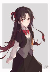 Rating: Safe Score: 0 Tags: 10s 1girl bangs black_jacket black_skirt bow bowtie brown_hair collared_shirt cropped_jacket eyebrows_visible_through_hair gotou_(go_to_1014) gradient_hair grey_background grey_vest hair_between_eyes hair_bow jacket long_hair long_sleeves multicoloured_hair one_side_up open_clothes open_jacket parted_bangs red_bow red_eyes red_hair red_neckwear ryuuou_no_oshigoto! shirt short_over_long_sleeves short_sleeves signature skirt solo two-tone_background very_long_hair vest white_background white_shirt yashajin_ai User: Domestic_Importer