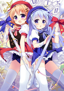 Rating: Safe Score: 1 Tags: 2girls :o bangs blue_bow blue_hair blush bow bowtie brown_hair bunny chestnut_mouth clock double-breasted eyebrows frills from_below gochuumon_wa_usagi_desu_ka? hair_ornament hairclip hat holding holding_spoon hoto_cocoa kafuu_chino long_hair looking_at_viewer matching_outfit multiple_girls nagayama_yuunon open_mouth oversized_object panchira pantsu pantyshot_(standing) purple_eyes red_bow ribbon roman_numerals shirt short_sleeves skirt spoon standing star striped striped_bowtie thighhighs underwear upskirt very_long_hair vest white_legwear white_shirt wrist_cuffs x_hair_ornament User: DMSchmidt
