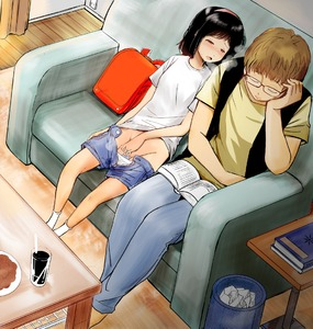 Rating: Explicit Score: 9 Tags: 1boy 1girl age_difference backpack bag barefoot black_hair blush book couch denim denim_shorts drooling fingering flat_chest glasses headband heavy_breathing indoors masturbation mimamori original panties_aside pantsu pantsu_pull pussy_juice randoseru red_eyes shorts sitting sleeping sleeping_upright source_request underwear white_pantsu User: DMSchmidt