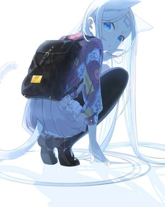 Rating: Safe Score: 4 Tags: 1girl absurdres animal_ears backpack bag black_legwear blue_eyes brown_footwear cat_day cat_ears cat_tail facial_mark forehead_mark full_body hand_in_hair highres kunojou_m+ long_hair looking_back original pantyhose shoes simple_background skirt solo squatting tail very_long_hair white_background white_hair white_skirt User: DMSchmidt