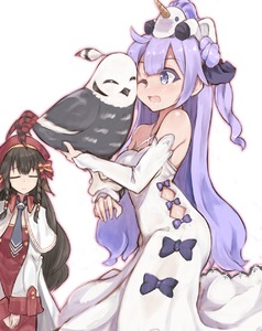 Rating: Safe Score: 2 Tags: 2girls ahoge animal azur_lane bangs bare_shoulders beret bird black_bow black_hair black_ribbon bow breasts capelet closed_eyes closed_mouth criss-cross_halter crossover detached_sleeves dress eyebrows_visible_through_hair facing_viewer grey_neckwear hair_between_eyes hair_bow hair_bun hair_ribbon halterneck hat highres kakuma_ai long_hair long_sleeves marshall2033 multiple_girls necktie on_head one_eye_closed one_side_up open_mouth purple_eyes purple_hair red_bow red_dress red_hat ribbon rurutie_(utawareru_mono) side_bun sleeves_past_wrists small_breasts striped striped_bow stuffed_alicorn stuffed_animal stuffed_toy unicorn_(azur_lane) utawareru_mono utawareru_mono:_itsuwari_no_kamen very_long_hair white_background white_capelet white_dress white_sleeves wide_sleeves User: DMSchmidt