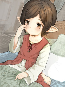 Rating: Safe Score: 1 Tags: 1girl alternate_hair_length alternate_hairstyle arulumaya bangs barefoot bed bed_sheet blanket blush brown_eyes brown_hair collarbone crying crying_with_eyes_open door dutch_angle granblue_fantasy harbin long_sleeves mole mole_under_eye on_bed parted_lips pointy_ears short_hair sitting solo swept_bangs tears walkalone white_pillow User: DMSchmidt