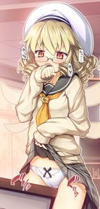 Rating: Explicit Score: 2 Tags: 1girl arm_up blonde_hair blush brown_sweater cameltoe chima_q classroom clenched_hand clothed_masturbation covering_mouth crotch_rub curly_hair desk fairy fairy_wings glasses grey_skirt hat highres lifted_by_self luna_child masturbation masturbation_through_clothing pantsu plaid plaid_skirt pussy_juice red_eyes school_uniform short_hair skirt skirt_lift sleeves_past_wrists solo sweater table_sex touhou_project underwear white_hat white_pantsu wings User: Domestic_Importer