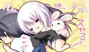 Rating: Safe Score: 0 Tags: 1boy 1girl black_shirt blush chibi drooling game_cg grabbing happy long_hair lying_on_bed oversized_clothes oversized_shirt purple_hair sleeping stuffed_animal stuffed_bunny stuffed_toy tsukumo_(tsukumonotsuki) tsukumonotsuki User: Fui