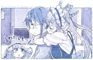 Rating: Safe Score: 0 Tags: 1boy 2girls apron dragon_girl glasses graphite_(medium) headdress horns hug hug_from_behind kanna_kamui kobayashi-san_chi_no_maidragon kobayashi_(maidragon) maid_headdress monochrome multiple_girls sakino_shingetsu short_hair sketch tooru_(maidragon) traditional_media twin_tails User: Domestic_Importer
