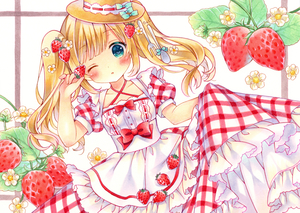 Rating: Safe Score: 0 Tags: 1girl apron aqua_eyes bangs blonde_hair blush bow breasts collarbone cowboy_shot dress eyebrows_visible_through_hair flower food food_themed_hair_ornament fork_hair_ornament frilled_dress frills fruit hair_flower hair_ornament hand_up highres holding holding_food holding_fruit long_hair looking_at_viewer marker_(medium) one_eye_closed original parted_lips plaid plaid_dress puu_(kari---ume) red_bow red_dress short_sleeves sidelocks skirt_hold small_breasts solo spoon_hair_ornament strawberry strawberry_hair_ornament symbol_commentary traditional_media twin_tails white_apron white_background white_flower User: DMSchmidt