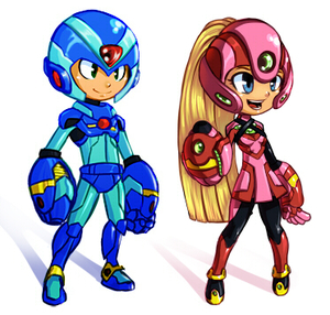 Rating: Safe Score: 0 Tags: 1boy 1girl android arm_cannon blonde_hair blue_eyes capcom helmet koi_drake long_hair lowres oversize_forearms pantyhose ponytail rockman rockman_(classic) rockman_x roll sketch smile very_long_hair weapon x_(rockman) User: DMSchmidt