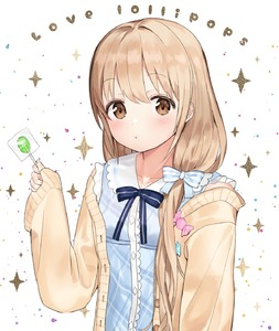 Rating: Safe Score: 0 Tags: 1girl :t bangs blue_bow blue_dress blush bow brown_cardigan brown_eyes brown_hair candy cardigan closed_mouth collarbone collared_dress dress eyebrows_visible_through_hair food futaba_anzu hair_between_eyes highres holding holding_food holding_lollipop idemitsu idolmaster idolmaster_cinderella_girls lollipop long_hair long_sleeves low_twintails open_cardigan open_clothes plaid plaid_dress pout sleeveless sleeveless_dress sleeves_past_wrists solo sparkle striped striped_bow twin_tails upper_body very_long_hair white_background User: Domestic_Importer
