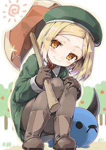 Rating: Safe Score: 2 Tags: 1girl babe_(fate) bangs boots closed_mouth collared_shirt cura dot_nose fate/grand_order fate_(series) full_body gloves green_hat green_jacket grey_footwear grey_gloves grey_legwear hat head_tilt jacket long_hair looking_at_viewer orange_eyes outdoors pantyhose parted_bangs paul_bunyan_(fate/grand_order) shirt short_hair smile solo squatting sun wing_collar User: DMSchmidt