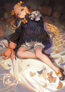Rating: Safe Score: 1 Tags: 1girl abigail_williams_(fate/grand_order) alphonse animal bangs bed_sheet black_bow black_dress black_footwear black_hat blonde_hair bloomers blue_eyes bow butterfly dress fate/grand_order fate_(series) forehead hair_bow hands_in_sleeves hat high_heels highres long_hair long_sleeves looking_at_viewer lying on_back orange_bow parted_bangs parted_lips polka_dot polka_dot_bow shoes solo stuffed_animal stuffed_toy teddy_bear underwear very_long_hair white_bloomers User: Domestic_Importer