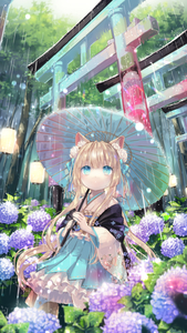 Rating: Safe Score: 2 Tags: 1girl absurdres animal_ears blonde_hair blue_eyes cowboy_shot flower fox_ears from_below hair_flower hair_ornament hakama highres hydrangea japanese_clothes light_particles looking_up oriental_umbrella original outdoors paperlantern rain sidelocks solo torii tree umbrella waterdrop yumeichigo_alice User: DMSchmidt
