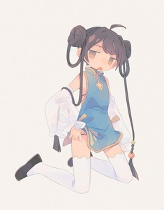 Rating: Safe Score: 2 Tags: 1girl :o ahoge arm_at_side beige_background black_footwear brown_eyes china_dress chinese_clothes daizu_(melon-lemon) dress flat_chest from_side full_body gradient_eyes hair_ornament highres jitome kneeling long_hair looking_at_viewer multicolored_eyes multicoloured no_nose open_mouth original simple_background solo white_legwear User: DMSchmidt
