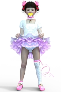 Rating: Safe Score: 5 Tags: 1girl 3dcg bangs blunt_bangs bow deepinside_(deepfake) diaper full_body hair_bow hair_ribbon lifted_by_self looking_at_viewer original pacifier photorealistic ribbon short_sleeves simple_background single_thighhigh skirt solo standing star thighhighs white_background white_shirt User: Domestic_Importer