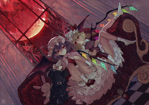 Rating: Safe Score: 2 Tags: 2girls bat_wings blonde_hair bloomers bow broken_glass brooch checkered checkered_floor closed_mouth couch crystal dress dutch_angle expressionless flandre_scarlet frilled_dress frills full_moon glass hair_between_eyes hat hat_bow highres indoors jewellery looking_at_viewer mob_cap mochacot moon multiple_girls no_shoes pointy_ears red_bow red_eyes red_footwear red_moon red_neckwear remilia_scarlet shoes short_hair siblings single_shoe sisters sitting stuffed_animal stuffed_bunny stuffed_toy teddy_bear touhou_project underwear white_legwear window wings User: DMSchmidt